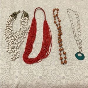 BUNDLE 4 long statement necklaces